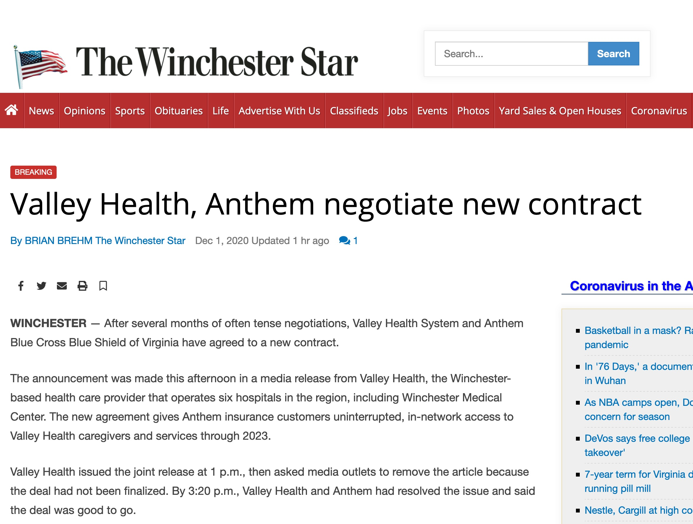 Valley Health and Anthem Agree on Terms - WGA